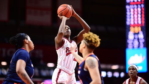 Sophomore forward Tyia Singleton, freshman guard Erica Lafayette and the Rutgers women's basketball team saw their win streak extended to seven games with a five-point victory over Penn State.  – Photo by Rutgers Women's Basketball / Twitter