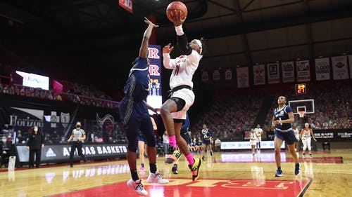 Senior forward Tekia Mack helped the Rutgers women's basketball team celebrate Senior Day with a ranked win over Ohio State in its final regular season game.  – Photo by Rutgers Women's Basketball / Twitter