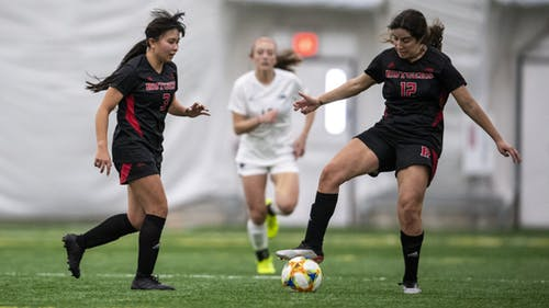 Sophomore midfielder Sam Kroger, senior back Gabby Provenzano and the Rutgers women's soccer team were not able to break down the Georgetown defense, being shutout in a 1-0 loss. – Photo by Rutgers Women's Soccer / Twitter