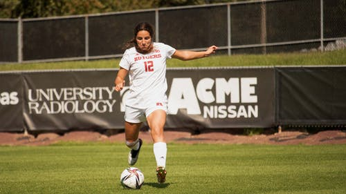 Senior back Gabby Provenzano scored the opening goal for the Knights against Michigan. – Photo by Olivia Thiel