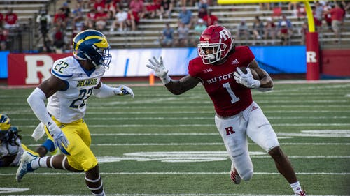Junior running back Isaih Pacheco recorded his first 100 yard rushing performance of the season as the Rutgers football team fell to No. 19 Michigan 20-13 in Ann Arbor. – Photo by Tom Gilbert