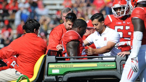 Senior defensive end Quanzell Lambert gets carted off the field after sustaining an injury in the fourth quarter of Rutgers' 14-7 loss to Iowa Saturday. Head coach Chris Ash announced the injury is season-ending Monday, bringing Lambert's collegiate career to an end. – Photo by Dimitri Rodriguez