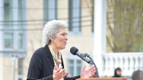 Susan Robeson, the granddaughter of Paul Robeson, called to attention during her speech that the University was built on traditional Lenape grounds. Paul Robeson himself was part Lenape from his mother's side. – Photo by Casey Ambrosio