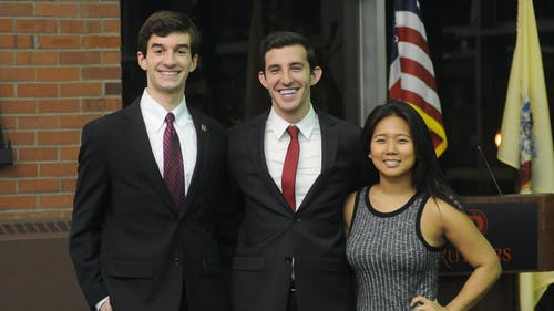 Evan Covello, left, Justin Schulberg, center, and Shannon Chang, right, have won the 2016 elections for the Rutgers University Student Assembly. They will be sworn in on April 14 for the 2016-2017 academic year. – Photo by Photo by Nikita Biryukov | The Daily Targum