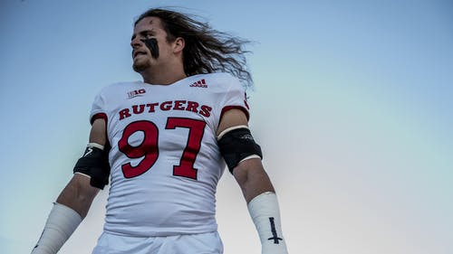 Fifth-year senior defensive end Mike Tverdov finished second on the team in both sacks and tackles for loss in 2020. – Photo by Ben Solomon / Scarletknights.com