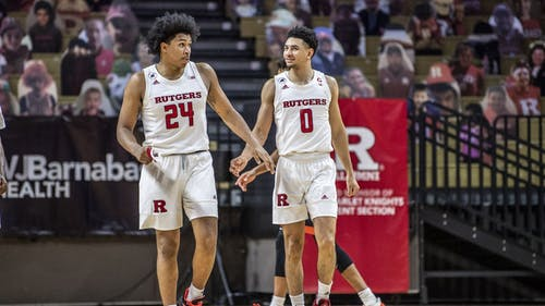 The Rutgers men's basketball team regained two big pieces of the roster today as senior guard Geo Baker and junior guard Ron Harper Jr. both announced they would return to the program for next season.  – Photo by Ben Solomon / Scarletknights.com
