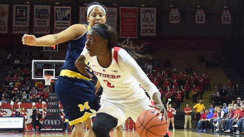 Senior wing Kahleah Copper scored 6 of her 17 points in the final six minutes to propel Rutgers to a 16-5 run to finish the game and escape Bankers Life Fieldhouse with a 66-63 win over Nebraska in the second round of the Big Ten Tournament. – Photo by Michelle Klejmont