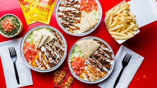 Halal Guys is one of several halal spots on campus, located on Easton Avenue. Its famous white sauce goes great with its legendary platters.  – Photo by Halal Guys / Facebook