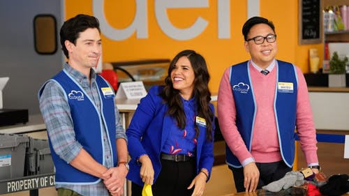 """Ben Feldman, America Ferrera and Nico Santos star in the NBC show """"Superstore."""" – Photo by WPXI See & Be Seen / Twitter"""