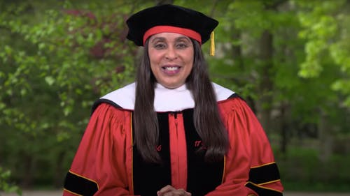 Natasha Trethewey, an award-winning author and former U.S. Poet Laureate, called on the Class of 2021 to not forget the challenges of the past year, but rather reckon with them in order to shape the future.  – Photo by Youtube