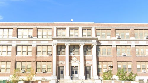 The Roosevelt Elementary School is 1 of the 2 newly restored polling locations previously planned by the Middlesex County Board of Elections to be closed for the upcoming April 20 New Brunswick School Board elections. – Photo by Googlemaps.com