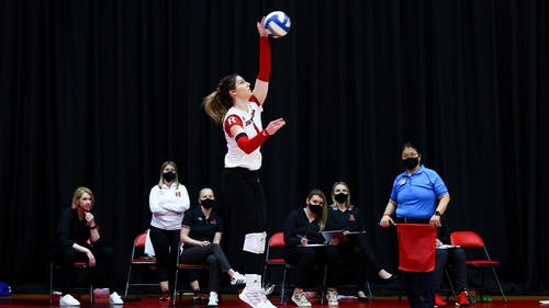 Fifth-year senior right side hitter Beka Kojadinovic was named the UConn Challenge MVP as the Rutgers volleyball team improved to 5-1 on the season.  – Photo by Scarletknights.com