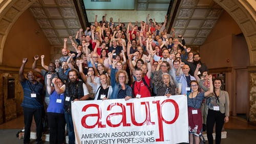 The Rutgers American Association of University Professors and American Federation of Teachers (AAUP-AFT) held a press conference yesterday for 3 of the 5 professors involved to discuss this lawsuit and their experiences with pay inequity. – Photo by AAUP / Facebook