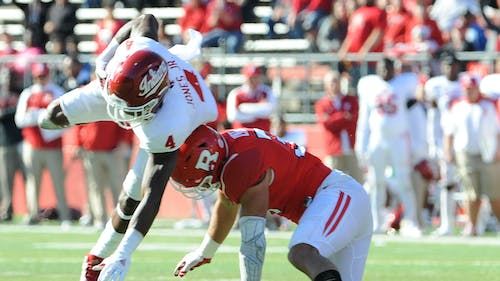 Senior safety Anthony Cioffi played limited snaps after missing a tackle on Ricky Jones that led to Indiana's second touchdown Saturday. He'll be a part of Rutgers' three-man rotation at safety against Michigan State. – Photo by Dimitri Rodriguez