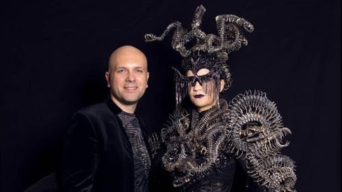 Costume designer Mio Guberinic (left) has previously designed costumes for television shows and celebrities such as Katy Perry and Madonna. His designs mainly incorporate the thermoplastic Worbla, which has the ability to bend under heat.  – Photo by Jose Espaillat