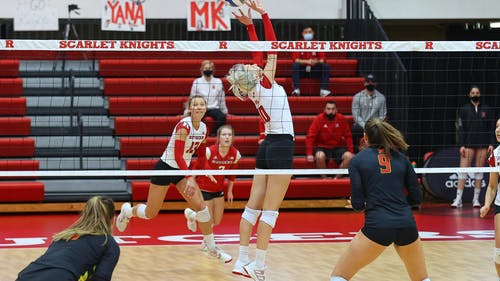 Seniors setter Inna Balyko, right side hitter Kamila Cieslik, sophomore libero Madyson Chitty and the Rutgers volleyball team head to South Carolina this weekend to take part in the Big Orange Bash.  – Photo by Scarletknights.com