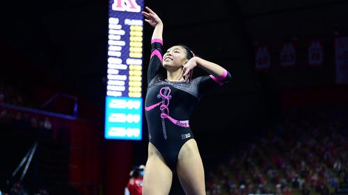 Senior gymnast Belle Huang said she chose Rutgers not only for the chance to compete on the collegiate level, but also because of the school's academics.  – Photo by Scarletknights.com