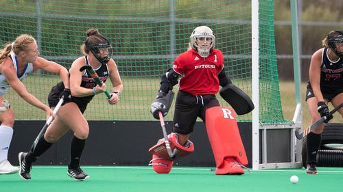 Senior goalkeeper Gianna Glatz recorded her second shutout of the season as the Rutgers field hockey team defeated Ohio State, but also suffered a loss to Iowa in its weekend matchups.  – Photo by Scarletknights.com