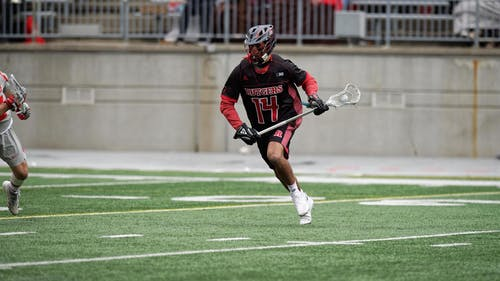 Senior midfielder Michael Sanguinetti scored the opening two goals for the Rutgers men's lacrosse team in its victory over Michigan.  – Photo by Scarletknights.com