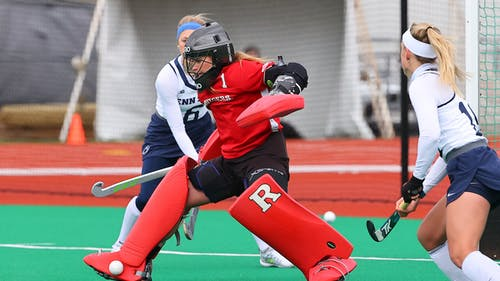 Senior goalkeeper Gianna Glatz looks to continue an award-winning season as the Rutgers field hockey team faces Northwestern in the first round of the Big Ten Tournament.  – Photo by Scarletknights.com