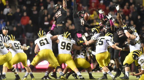 Then-sophomore defensive end Kemoko Turay's block has become an iconic part of Rutgers folklore as it guaranteed Rutgers' first ever Big Ten win, a 26-24 victory over Michigan in 2014. Two years later, the Wolverines return to New Jersey much improved, with a No. 4 ranking and national title aspirations. Rutgers hopes to repeat the magic once again. – Photo by The Daily Targum