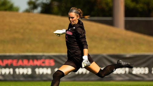 Junior goalkeeper Meagan McClelland recorded a shutout as the Rutgers women's soccer team defeated Purdue 1-0.  – Photo by Scarletknights.com