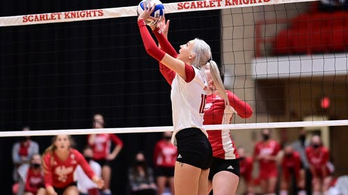 Junior setter Inna Balyko put up 23 assists against Wisconsin on Friday.  – Photo by Scarletknights.com
