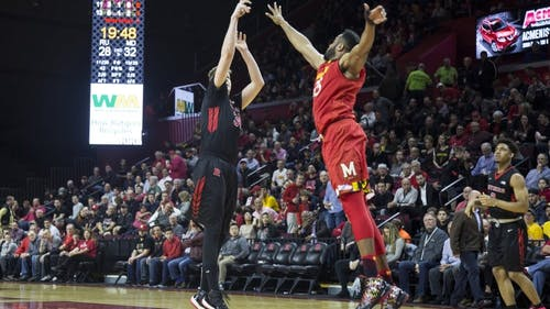 Senior center C.J. Gettys hits a jumper in the first half of Rutgers' 79-59 loss to Maryland Tuesday night. He was a perfect 5-for-5 in the first half but went just 1-for-3 in the second. – Photo by Dimitri Rodriguez