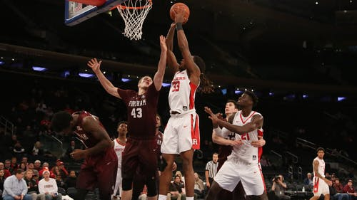 Junior forward Deshawn Freeman gets a putback layup in the second half of Rutgers' 68-53 win over Fordham at Madison Square Garden Sunday afternoon. Freeman led the Knights with 11 rebounds to go along with his 16 points for his 6th double-double in 12 games. – Photo by Photo by Dimitri Rodriguez | and Dimitri Rodriguez The Daily Targum