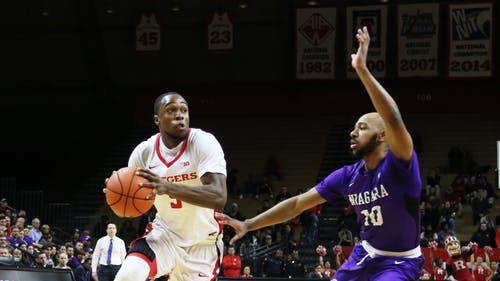 Junior guard Mike Williams led Rutgers in both points (16) and steals (4), but his performance wasn't enough as the Knights lost their first game of the season against Miami, 73-61. His final swipe embodied the spirit of Rutgers' team this season. – Photo by Photo by Dimitri Rodriguez | The Daily Targum