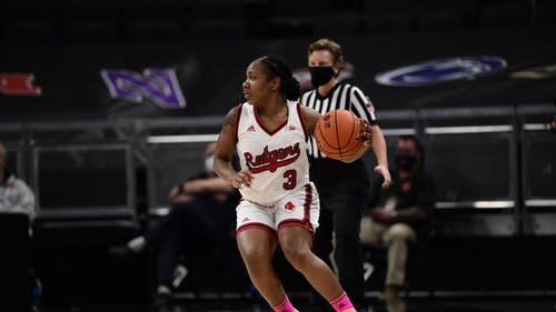A team leading 26 points from freshman guard Diamond Johnson was not enough as the Rutgers women's basketball team fell to Iowa in its first Big Ten Tournament game.  – Photo by Rutgers Women's Basketball / Twitter