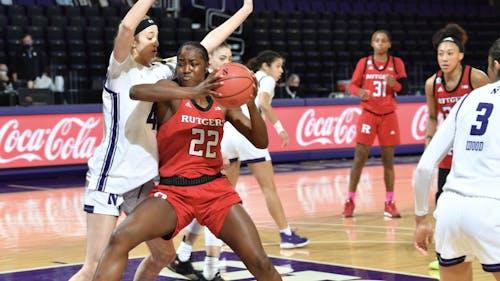 Sophomore forward Tyia Singleton, senior forward Tekia Mack and fifth-year senior guard Arella Guirantes combined for 48 points against Northwestern.  – Photo by Rutgers Women's Basketball / Twitter