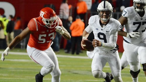Fifth-year senior defensive end Julian Pinnix-Odrick chases after Penn State quarterback Trace McSorely in the first quarter of Rutgers' 39-0 loss to the No. 8 Nittany Lions Saturday night. The co-captain was 1 of 17 Scarlet Knights playing in their final home game at High Point Solutions Stadium on Senior Night. – Photo by Photo by Dimitri Rodriguez   The Daily Targum