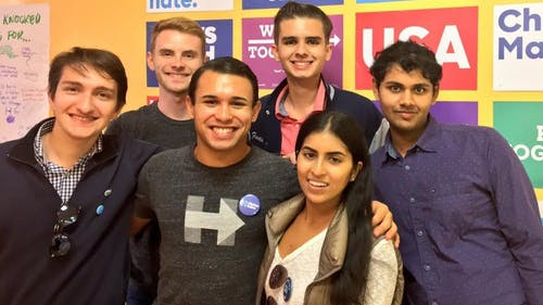 Courtesy of Jeremy Atie | More than 60 members of Rutgers for Hillary joined the Democratic nominee's campaign in knocking on doors in Philadelphia over the weekend to gain votes for the candidate. – Photo by null