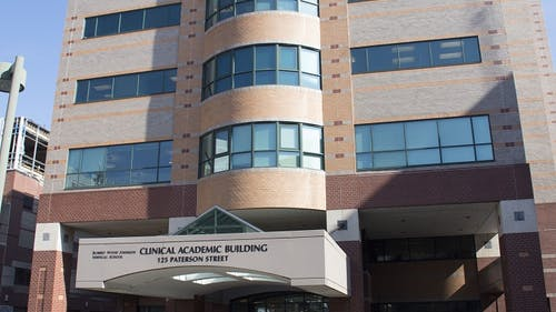The Clinical Academic Building on the College Avenue campus was 1 of the 2 locations where burglaries recently occurred, with the perpetrator stealing multiple items of value from the second floor.  – Photo by Rutgershealth.org