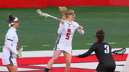 Senior attacker Hannah Hollingsworth provided 6 points in the Rutgers women's lacrosse team's victory over Ohio State, advancing to the second round of the Big Ten Tournament.  – Photo by Scarletknights.com